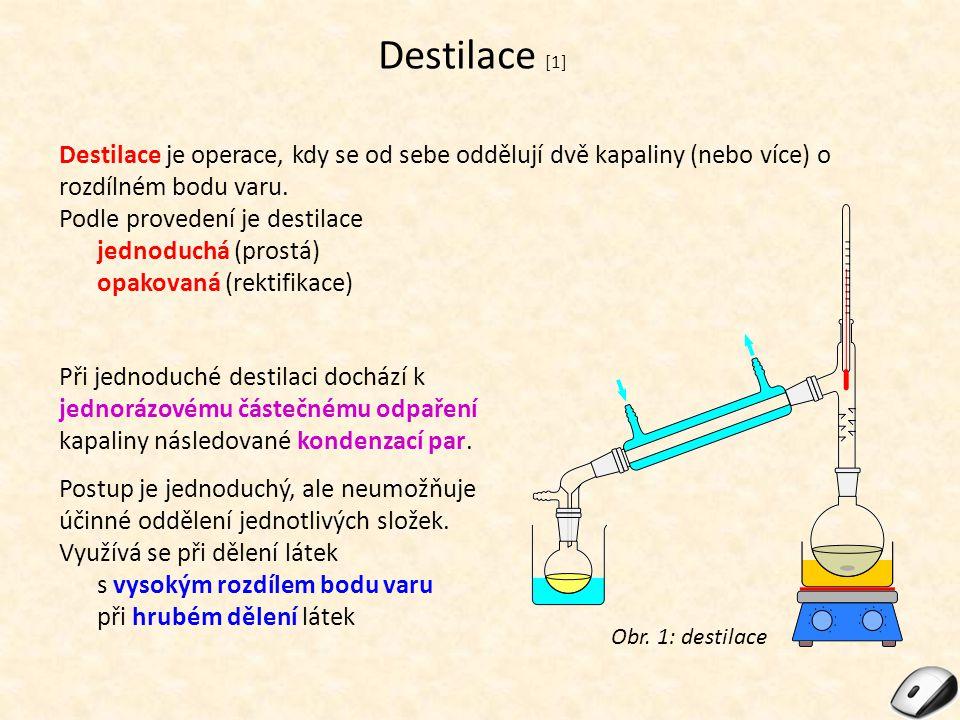 Destilace [1] Destilace je operace, kdy se od sebe oddělují dvě kapaliny (nebo více) o rozdílném bodu varu.